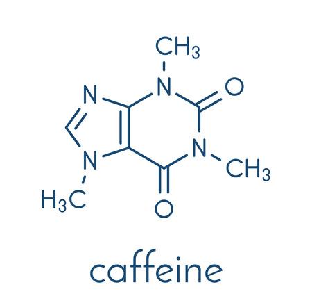 카페인 자극제 분자. 커피, 차 및 많은 부드럽고 에너지 음료를 선물하십시오. 골격 공식. 일러스트