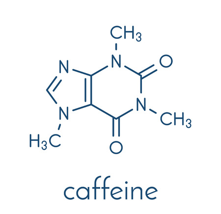 intoxication: Caffeine stimulant molecule. Present in coffee, tea and many soft and energy drinks. Skeletal formula.