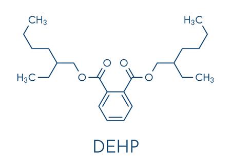 atomic: DEHP (Bis(2-ethylhexyl) phthalate, diethylhexyl phthalate, dioctyl phthalate, DOP) plasticizer molecule. Skeletal formula.