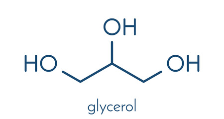 Glycerol (glycerin) molecule. Produced from fat and oil triglycerides. Used as sweetener, solvent and preservative in food and drugs. Skeletal formula. Illustration
