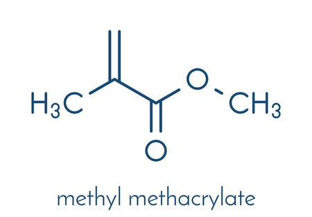 Methyl methacrylate molecule, poly(methyl methacrylate) or acrylic glass building block. Skeletal formula. Illustration