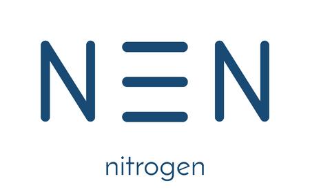 원소 질소 (N2) 분자. 질소 가스는 지구 대기의 주요 구성 요소입니다. 골격 공식. 일러스트
