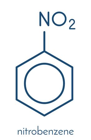 ニトロ ベンゼン溶媒分子。骨格式。  イラスト・ベクター素材
