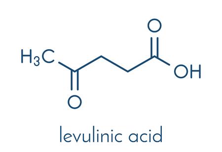 Levulinic acid molecule. Made by degradation of cellulose, potential precursor to biofuels. Skeletal formula. Illustration