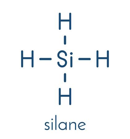 Silane (SiH4) molecule. Skeletal formula. Çizim