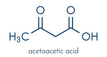 Ketone body (acetoacetic acid, diacetic acid) molecule. Skeletal formula. Stock Illustratie