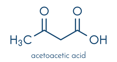 Ketone body (acetoacetic acid, diacetic acid) molecule. Skeletal formula. Illustration