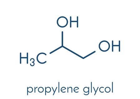 Propylene glycol (1,2-propanediol) molecule. Used as solvent in pharmaceutical drugs, as food additive, in de-icing solutions, etc Skeletal formula. Illustration