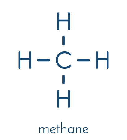 Methane natural gas molecule. Main component of natural gas and LNG (liquefied natural gas) and biogas, produced by fermentation. Skeletal formula.