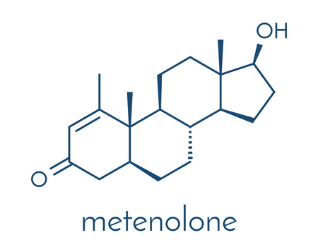 Metenolone anabolic steroid molecule. Used (banned) in sports doping. Skeletal formula.
