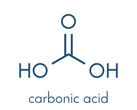 Carbonic acid molecule. Formed when carbon dioxide is dissolved in water (carbonated water). Skeletal formula.