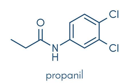 Propanil-herbicidemolecuul. Skeletachtige formule. Stock Illustratie