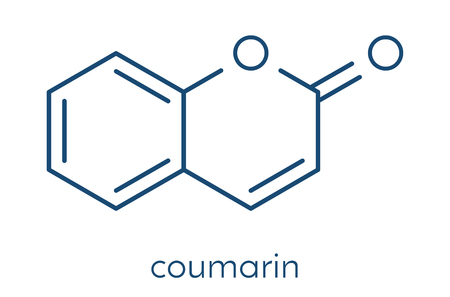 Coumarin herbal fragrant molecule. Responsible for the scent new-mown hay. Skeletal formula.