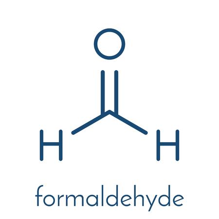 Formaldehyde (methanal) molecule. Important indoor pollutant. Skeletal formula. Vectores