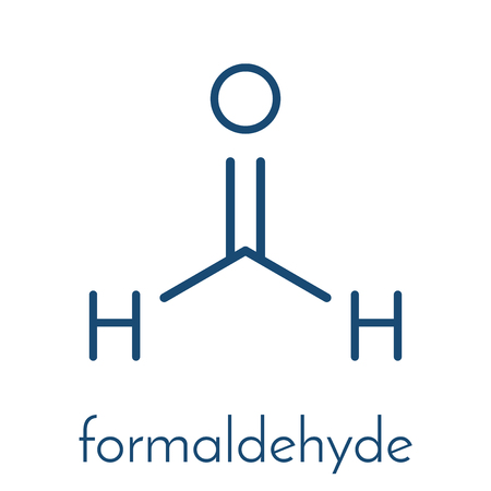 Formaldehyde (methanal) molecule. Important indoor pollutant. Skeletal formula. Illustration