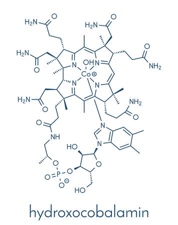 Hydroxocobalamin vitamin B12 molecule. Often given therapeutically in case of B12 deficiency. Skeletal formula. 向量圖像