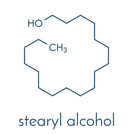 Stearyl alcohol molecule. Constituent of cetostearyl alcohol (cetearyl alcohol, cetylstearyl alcohol). Skeletal formula.