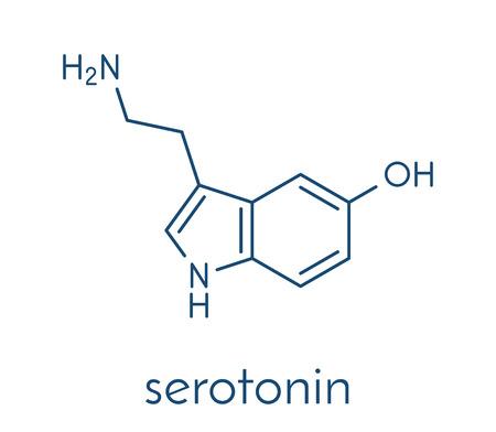 Serotonin neurotransmitter molecule. Skeletal formula. Ilustração