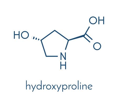 Hydroxyproline (Hyp) amino acid. Essential component of collagen. Skeletal formula. Illustration