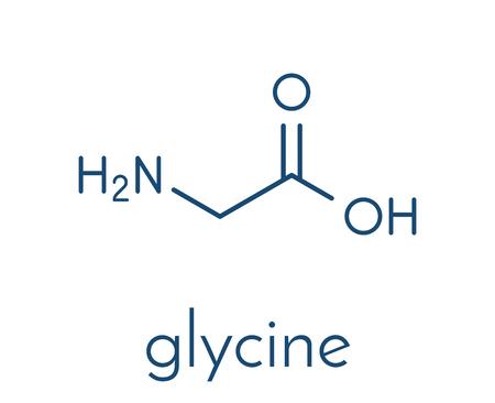Glycine (Gly, G) molécule d'acide aminé. Formule squelettique. Vecteurs