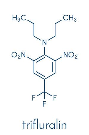 Trifluralin herbicide molecule. Skeletal formula.