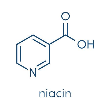 ビタミン B3 (ナイアシン) 分子.骨格式。  イラスト・ベクター素材