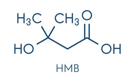 Beta-hydroxy beta-methylbutyric acid (HMB) leucine metabolite molecule. Used as supplement, may increase strength and muscle mass. Skeletal formula. Illustration