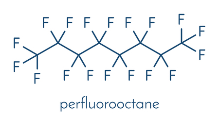 Perfluorooctane molecule. Skeletal formula. Illustration
