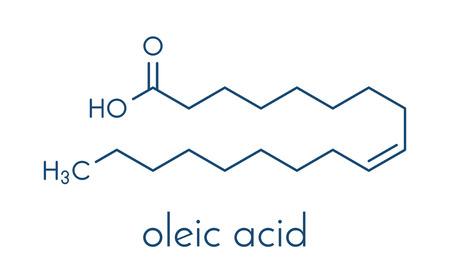 atomic: Oleic acid (omega-9, cis) fatty acid. Common in animal fats and vegetable oils. Its salt, sodium oleate, is often used in soap. Skeletal formula.