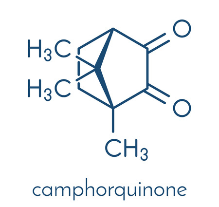 Camphorquinon zichtbaar-licht fotoinitiator molecuul. Skeletformule.