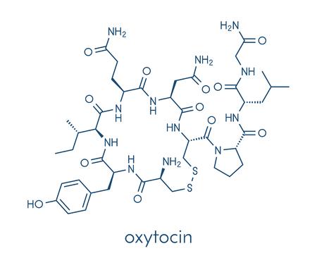 Oxytocin hormone molecule.  Skeletal formula.