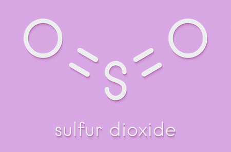 Sulfur dioxide food preservative molecule (E220). Also used in winemaking and responsible for sulfites in wine. Skeletal formula.