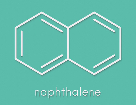 Naphthalene aromatic hydrocarbon molecule. Used as mothball ingredient. Skeletal formula.