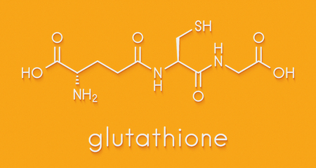 Glutathione (reduced glutathione, GSH) endogenous antioxidant molecule. Skeletal formula.
