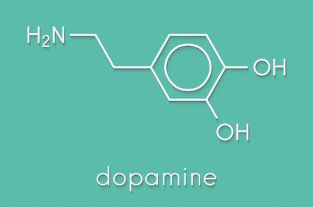 Dopamine neurotransmitter molecule. Also used as drug. Skeletal formula.