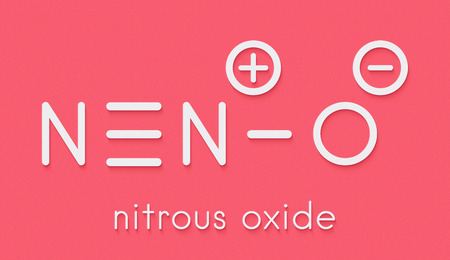 Nitrous oxide (NOS, laughing gas, N2O) molecule. Used in surgery as analgesic and anesthetic drug, and also as oxidizer in rocket motors and combustion engines. Skeletal formula.