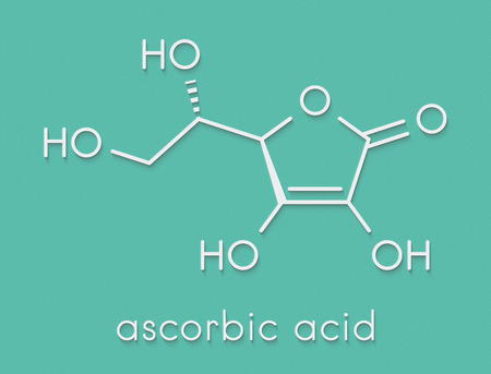 Vitamin C (ascorbic acid, ascorbate) molecule. Skeletal formula.