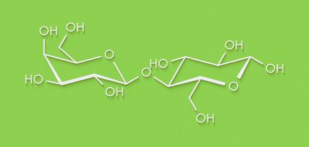 Molécula del azúcar de la leche de la lactosa. Fórmula esquelética.