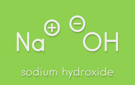 Sodium hydroxide (lye, caustic soda), chemical structure. Skeletal formula.