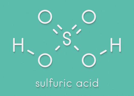 Sulfuric acid (H2SO4) strong mineral acid molecule. Skeletal formula.