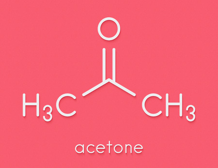 Acetone solvent molecule. Organic solvent used in nail polish remover. Skeletal formula. Stock Photo