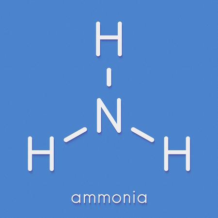アンモニア (NH3) 分子。骨格式。