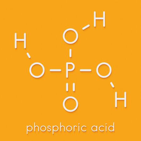 Phosphoric acid mineral acid molecule. Used in fertilizer production, biological buffers, as food additive, etc. Skeletal formula.