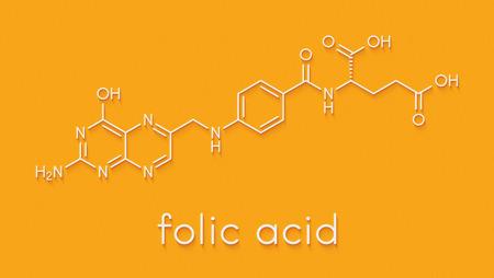 Vitamin B9 (folic acid) molecule. Skeletal formula. Banco de Imagens