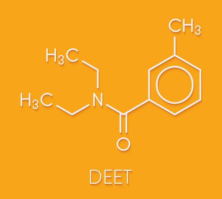 DEET (diethyltoluamide, N,N-Diethyl-meta-toluamide) insect repellent molecule. Skeletal formula.