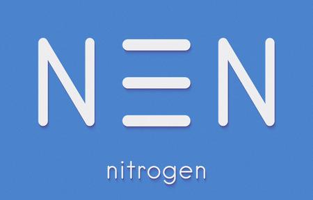 원소 질소 (N2) 분자. 질소 가스는 지구 대기의 주요 구성 요소입니다. 골격 공식.