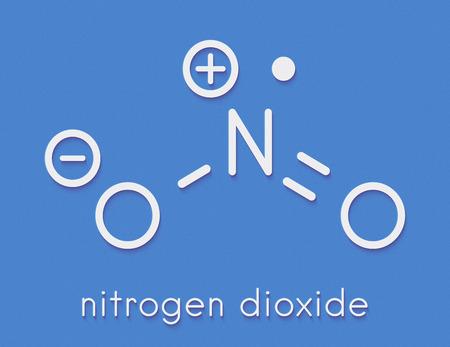 이산화질소 (NO2) 대기 오염 분자. 자유 라디칼 화합물, 일컬어 NOx. 골격 공식.