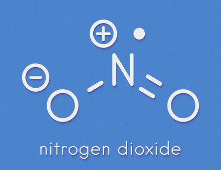 Nitrogen dioxide (NO2) air pollution molecule. Free radical compound, also known as NOx. Skeletal formula. Stock Photo