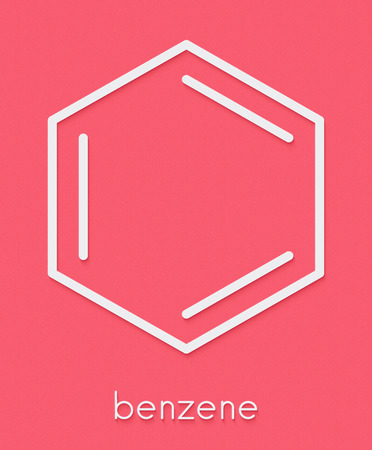 Benzene aromatic hydrocarbon molecule. Important in petrochemistry, component of gasoline. Skeletal formula.