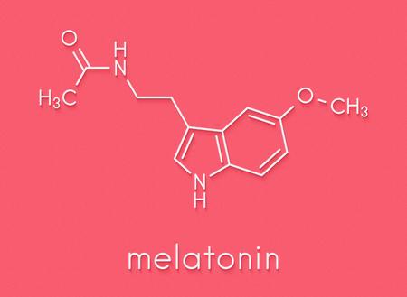 Melatonin hormone molecule. In humans, it plays a role in circadian rhythm synchronization. Skeletal formula. Standard-Bild